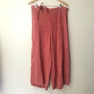 FLAX Red striped linen Lagenlook crop pants size M